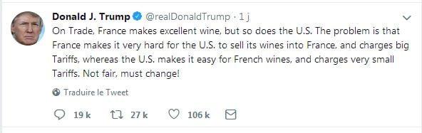 Trump veut augmenter les taxes sur les vins français